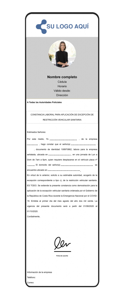 Carta restricción vehicular -  gafete